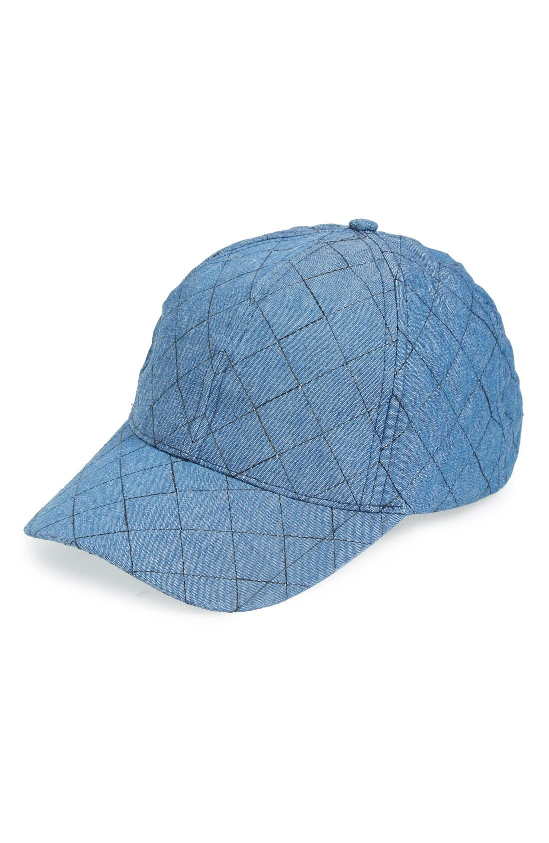 Alternate Image 1 Selected - Amici Accessories Quilted Chambray Ball Cap