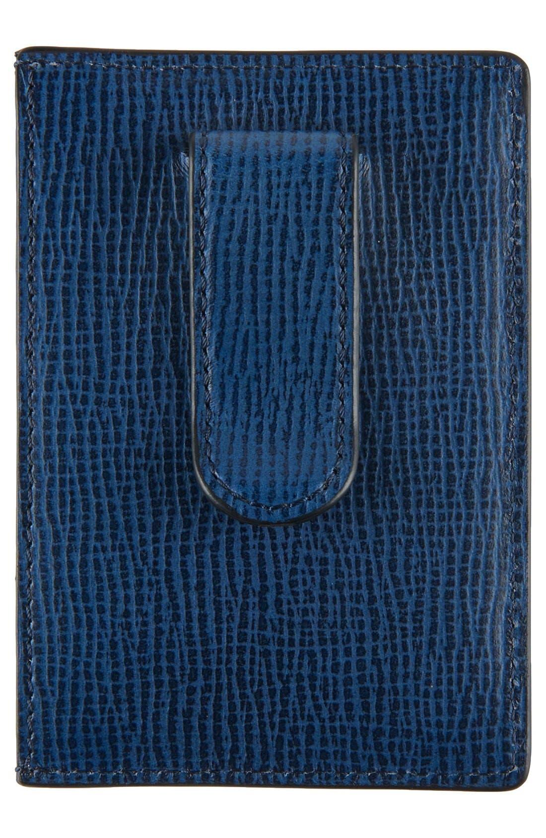 Monaco Leather Money Clip Card Case,                             Alternate thumbnail 2, color,                             Cobalt