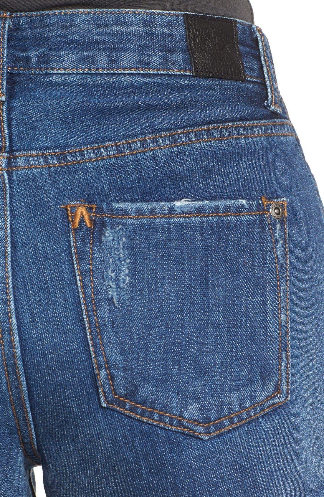 'Highly Vibed' Cutoff Denim Shorts,                             Alternate thumbnail 4, color,                             Classic Indigo