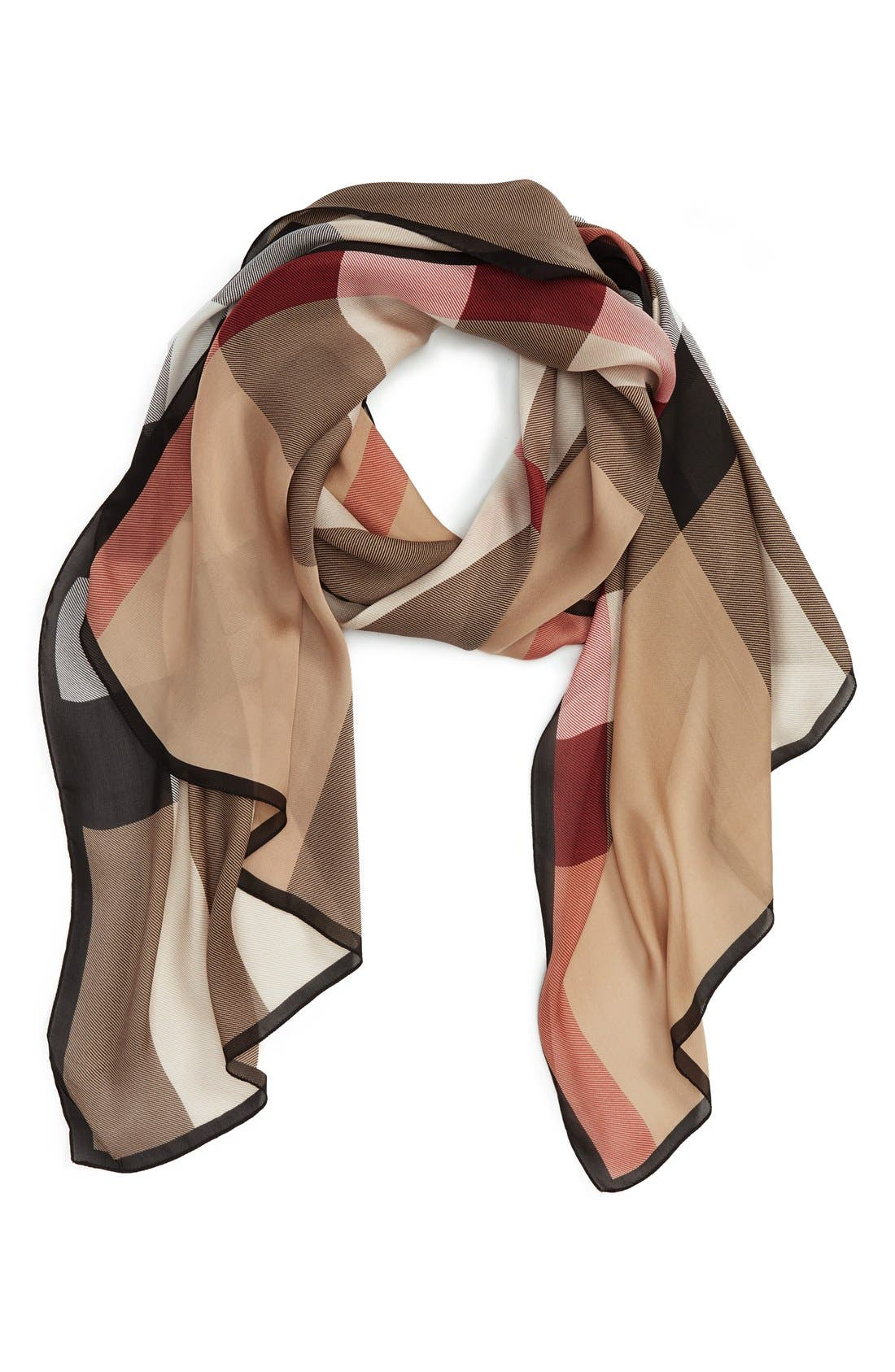 'Ultra Mega Check' Washed Mulberry Silk Scarf,                         Main,                         color, Camel