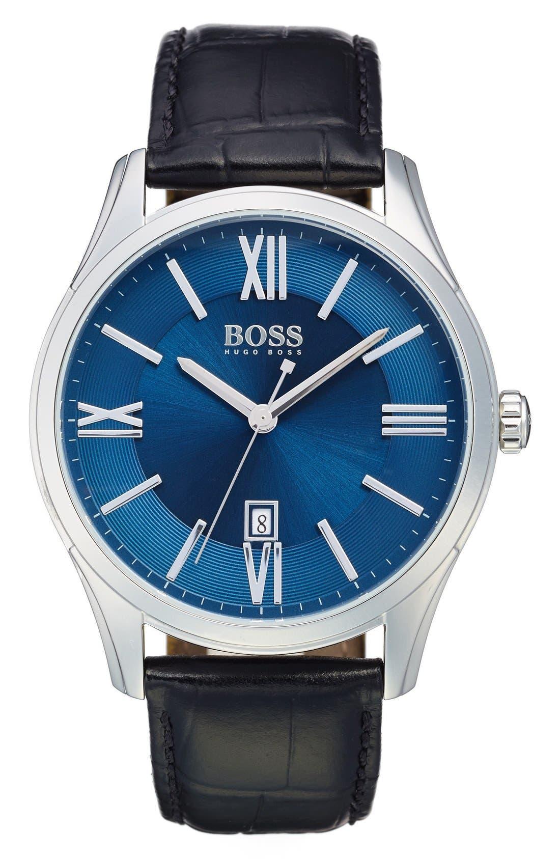 BOSS 'Ambassador' Embossed Leather Strap Watch, 43mm