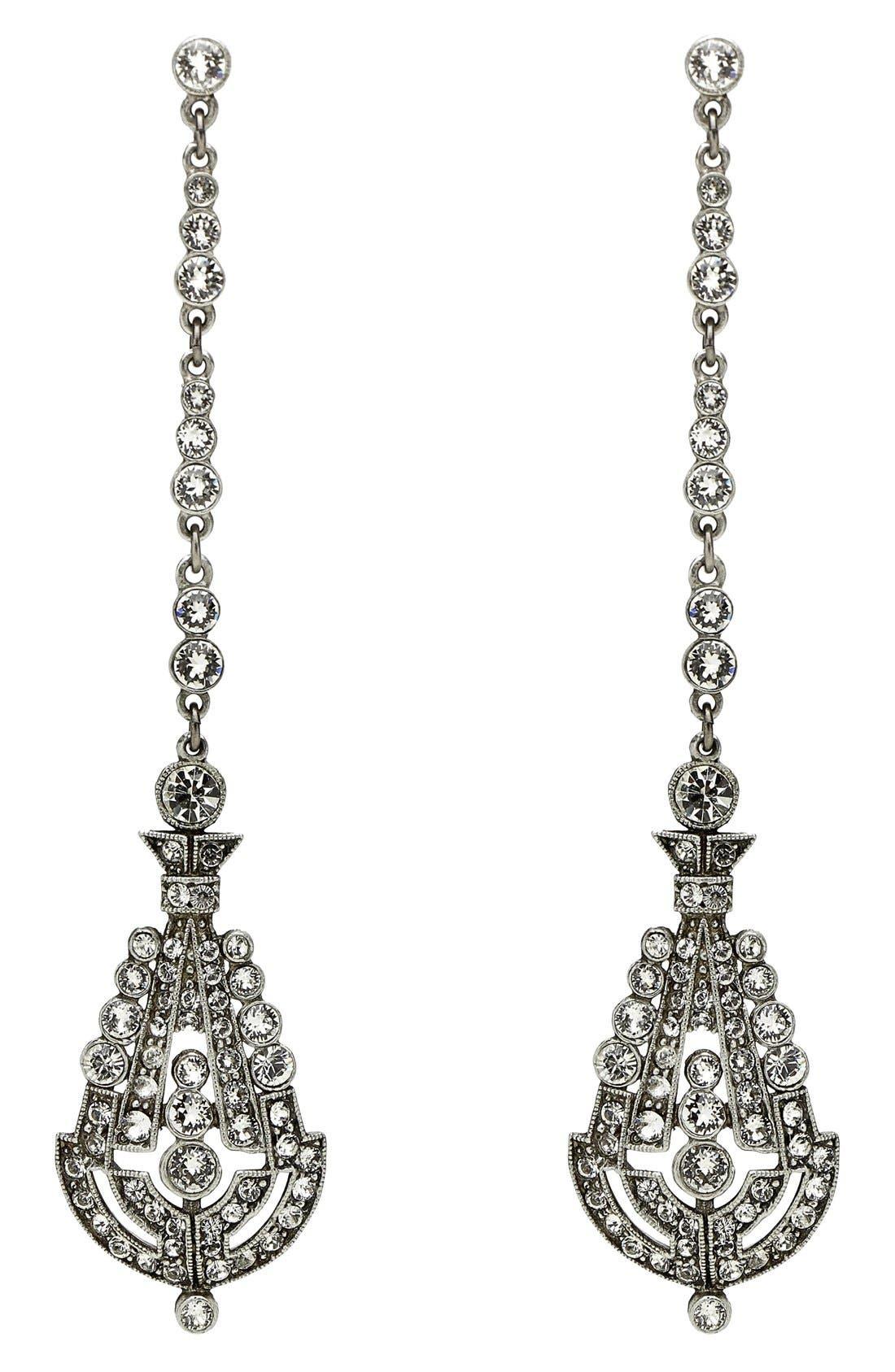 'Deco' Crystal Drop Earrings,                             Main thumbnail 1, color,                             Clear/ Crystal