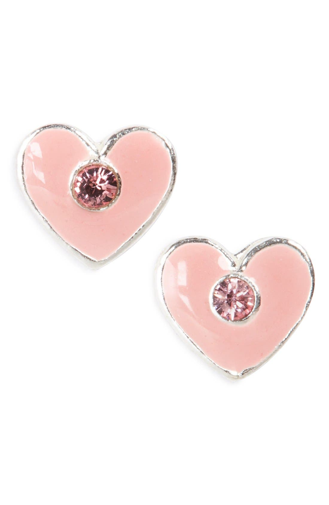 'Crystal Heart' Sterling Silver Stud Earrings,                             Main thumbnail 1, color,                             Silver