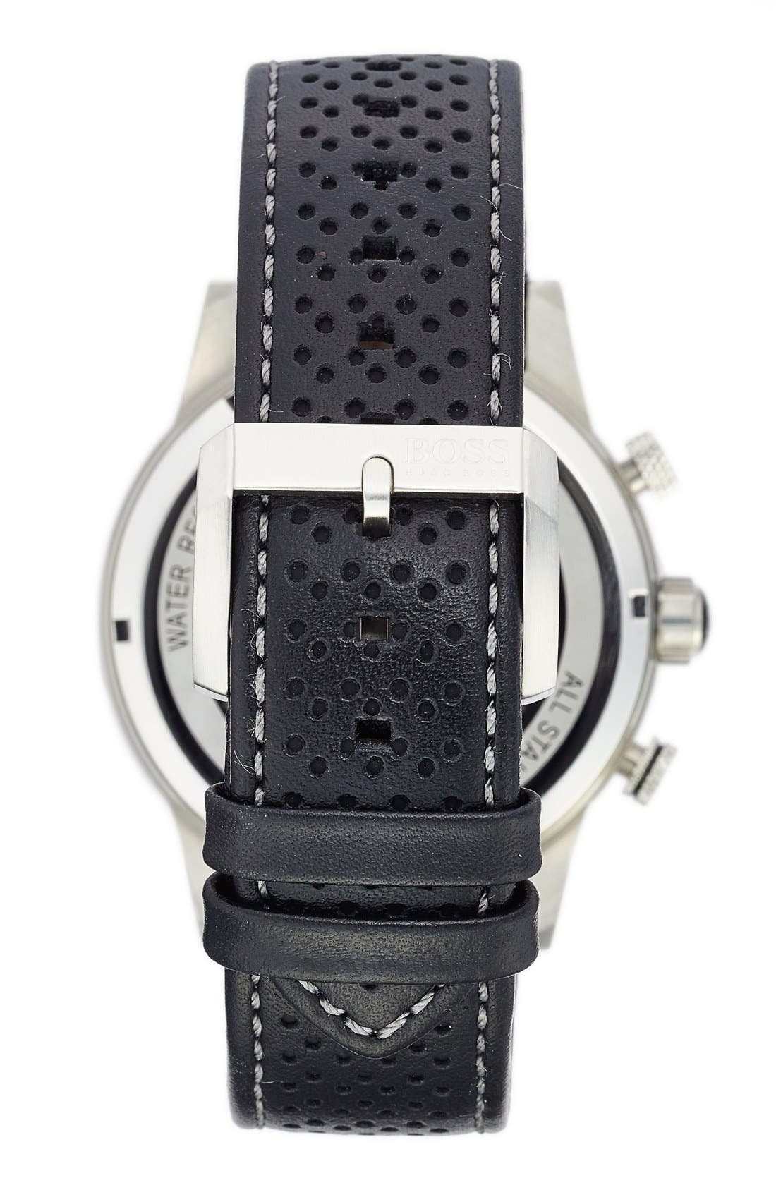 BOSS 'Rafale' Chronograph Leather Strap Watch, 44mm,                             Alternate thumbnail 2, color,                             White/ Black