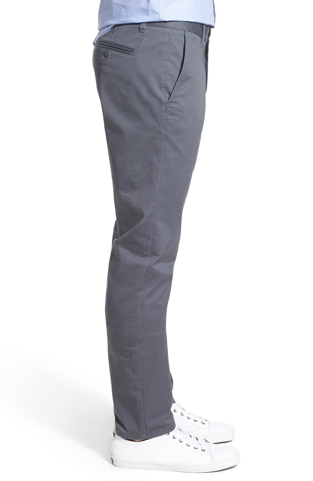 Slim Fit Stretch Washed Chinos,                             Alternate thumbnail 3, color,                             Slate