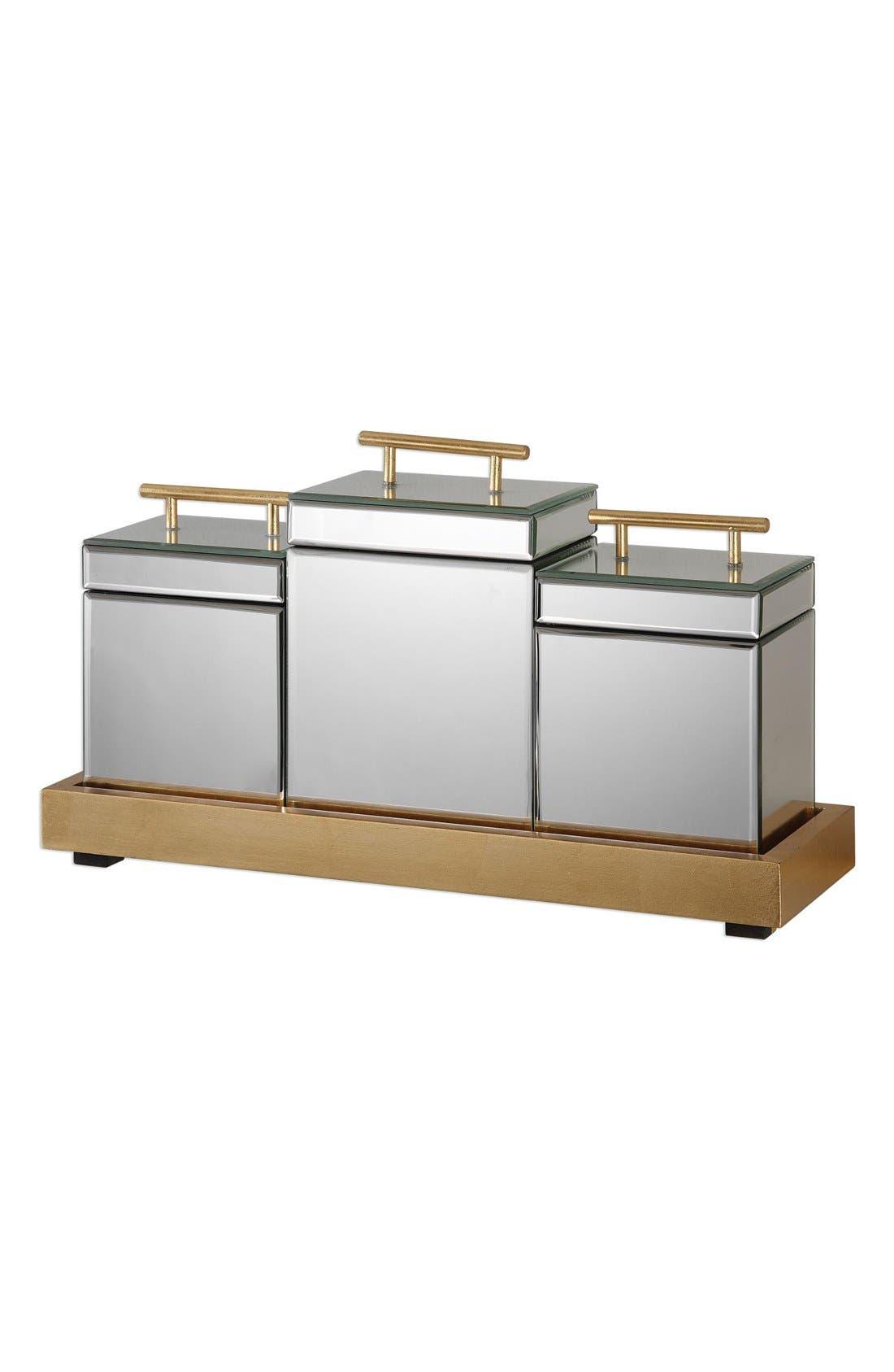 4-Piece Trinket Box & Tray Set,                             Main thumbnail 1, color,                             Metallic Gold