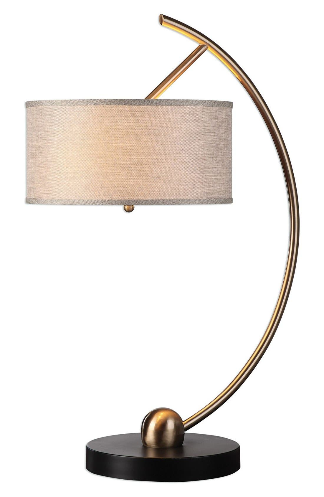 Curved Brass Table Lamp,                         Main,                         color, Brass