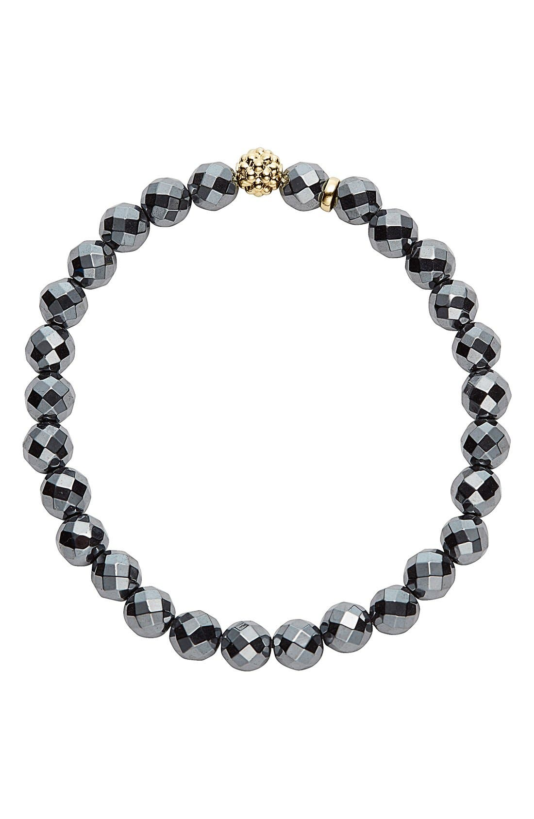'Caviar Icon' Semiprecious Stone Bracelet,                             Alternate thumbnail 2, color,                             Hematite/ Gold