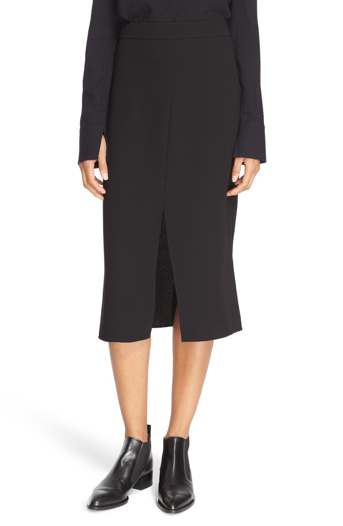 Double Slit Crepe Skirt,                             Main thumbnail 1, color,                             Black