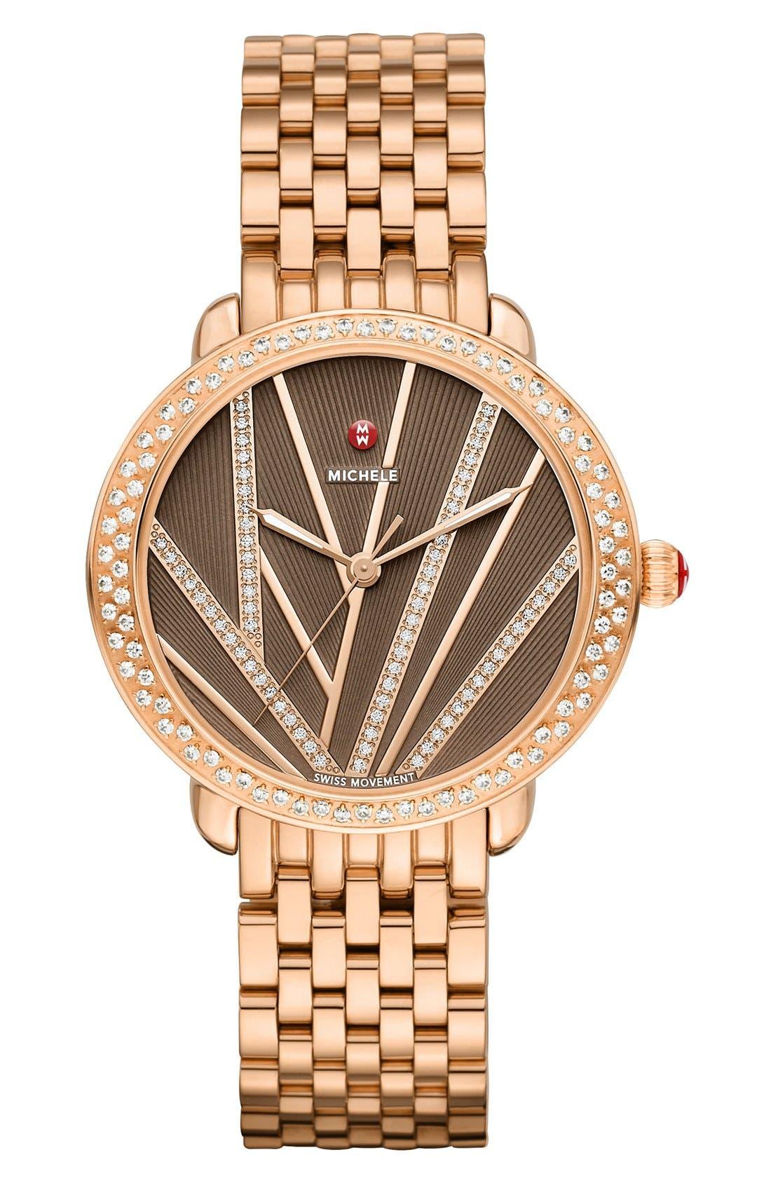 Serein Mid City Lights Diamond Diamond Dial Watch Case, 36mm,                             Alternate thumbnail 2, color,                             Rose Gold/ Cocoa