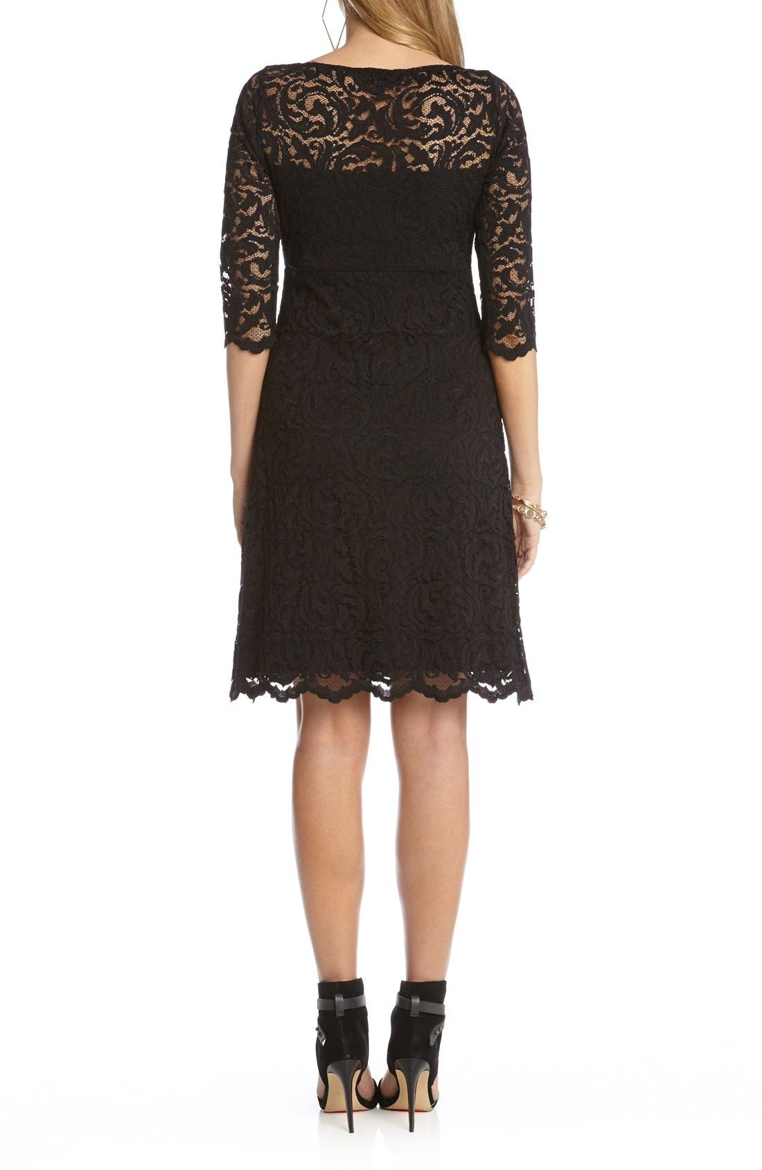 Scalloped Lace V-Neck Dress,                             Alternate thumbnail 2, color,                             Black