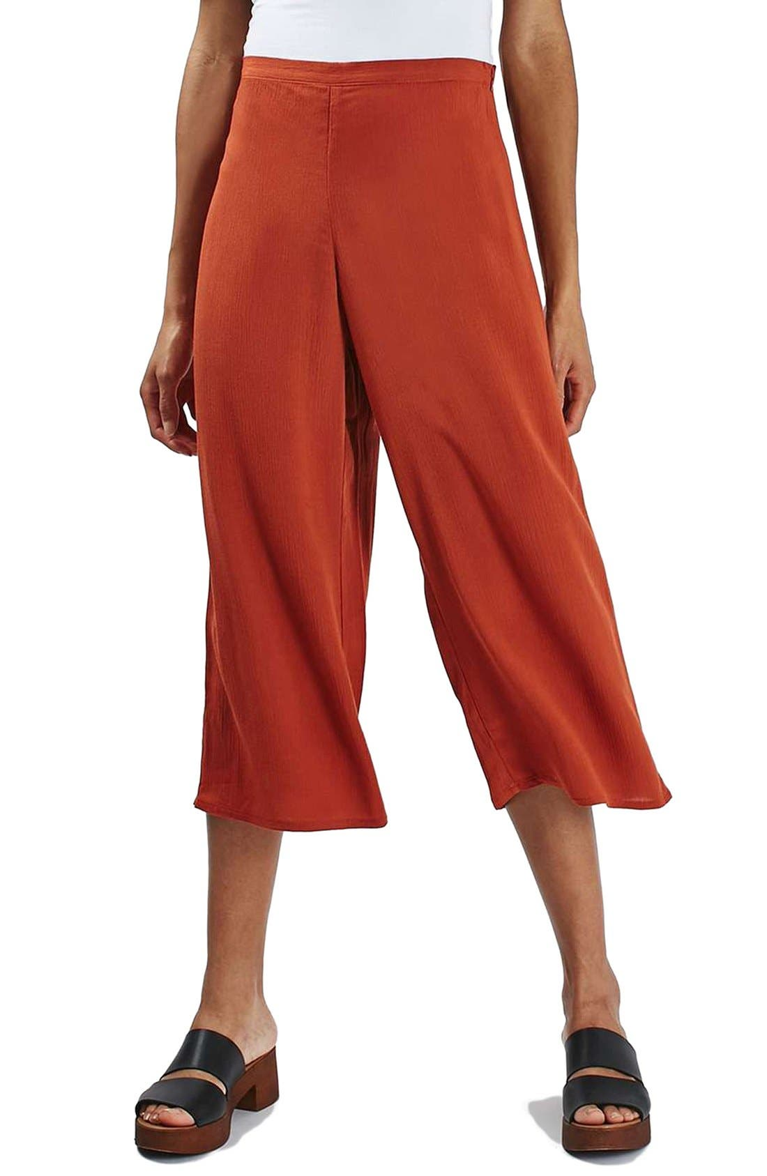 Main Image - Topshop Crinkled Crop Wide Leg Trousers