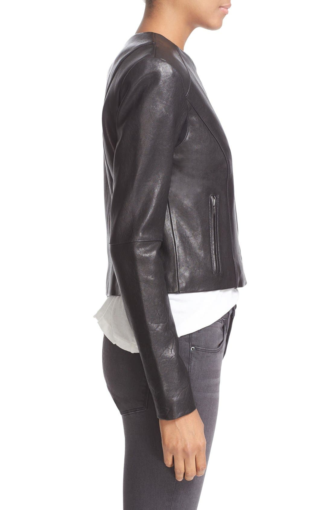 'Dali' Lambskin Leather Jacket,                             Alternate thumbnail 3, color,                             Black