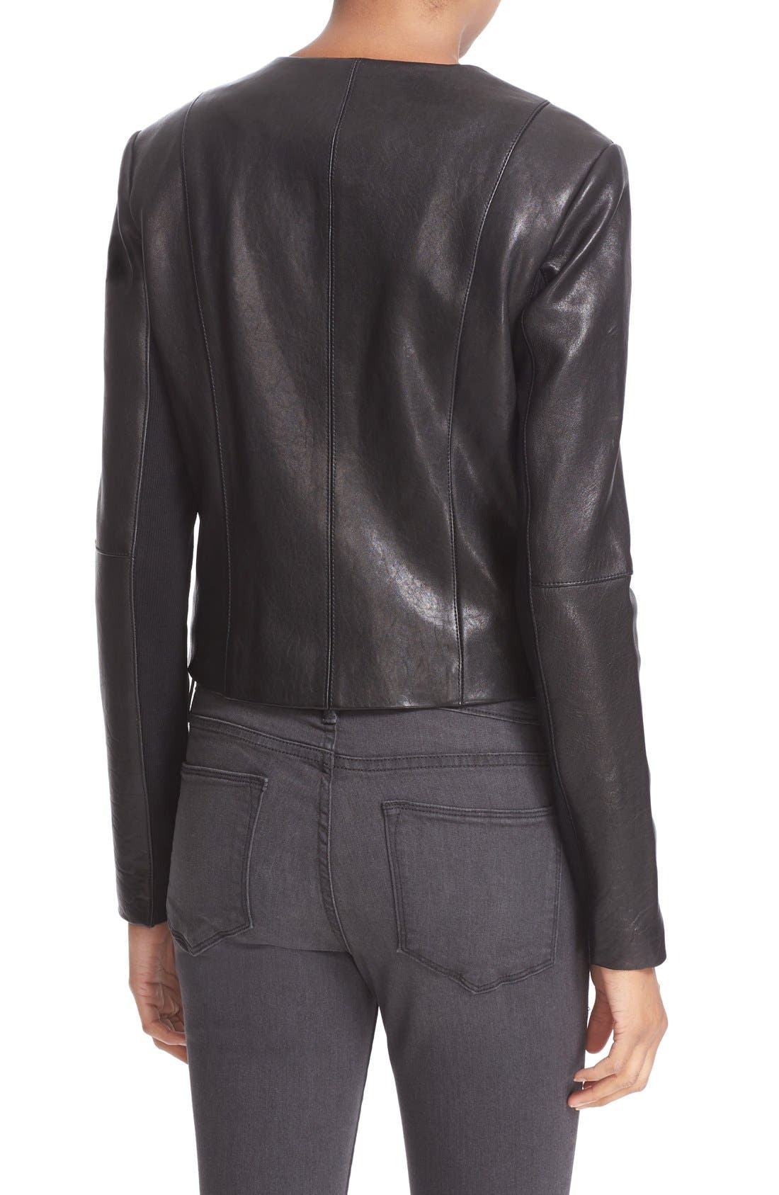 'Dali' Lambskin Leather Jacket,                             Alternate thumbnail 2, color,                             Black