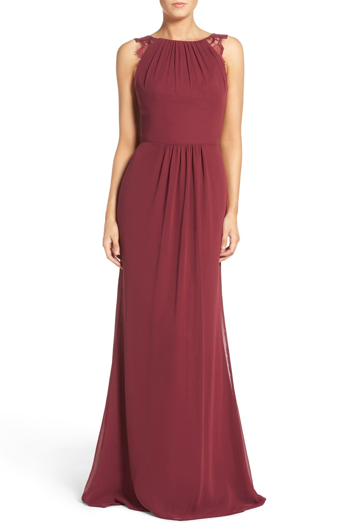 Lace Strap Gathered Chiffon Gown,                             Main thumbnail 1, color,                             Burgundy/ Burgundy