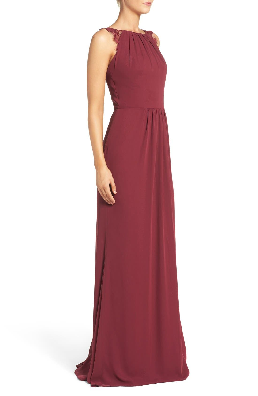 Lace Strap Gathered Chiffon Gown,                             Alternate thumbnail 3, color,                             Burgundy/ Burgundy