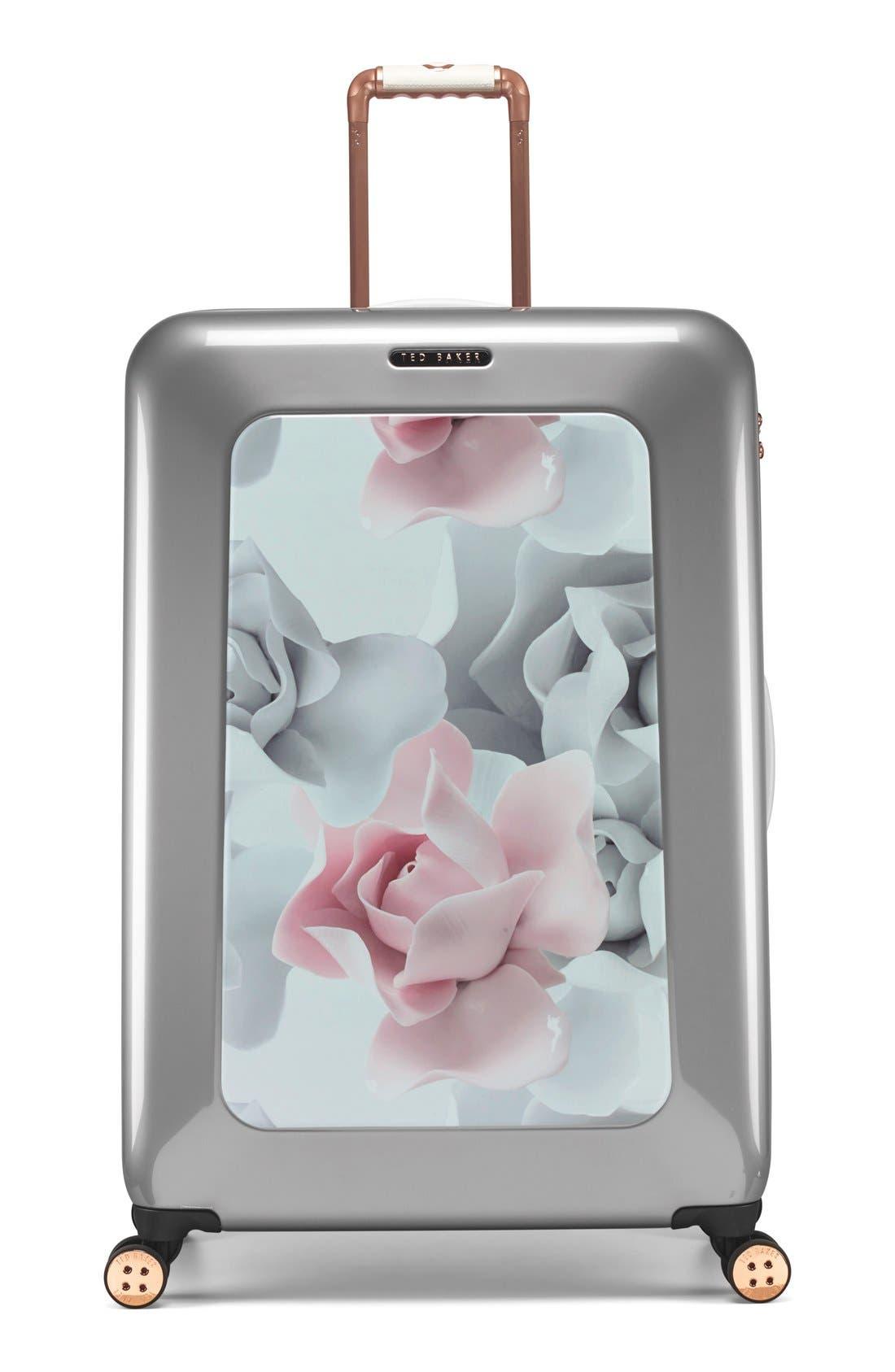 Main Image - Ted Baker London 'Large Porcelain Rose' Four Wheel Suitcase (31 Inch)