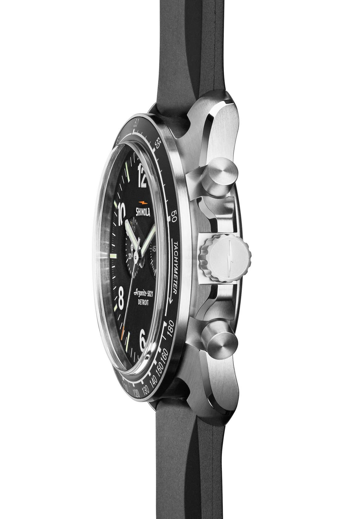 'The Rambler' Chronograph Rubber Strap Watch, 44mm,                             Alternate thumbnail 2, color,                             Black/ Black/ Silver