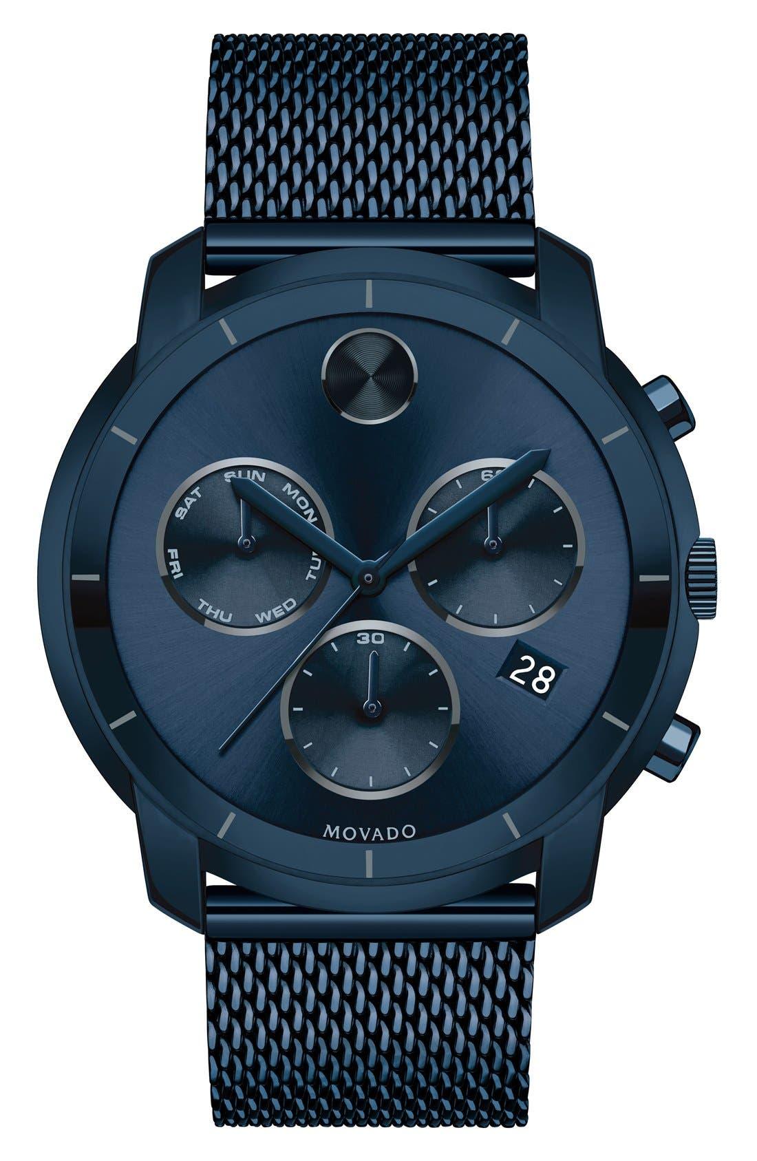 'Bold' Chronograph Mesh Strap Watch, 44mm,                             Main thumbnail 1, color,                             Blue