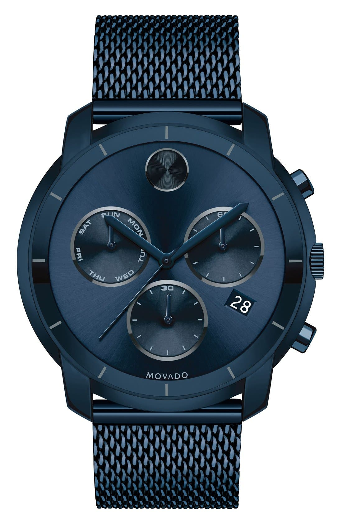 'Bold' Chronograph Mesh Strap Watch, 44mm,                         Main,                         color, Blue