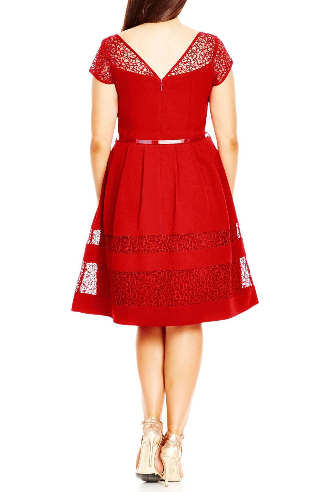 Fit & Flare Dress with Delicate Lace Insets,                             Alternate thumbnail 2, color,                             Red