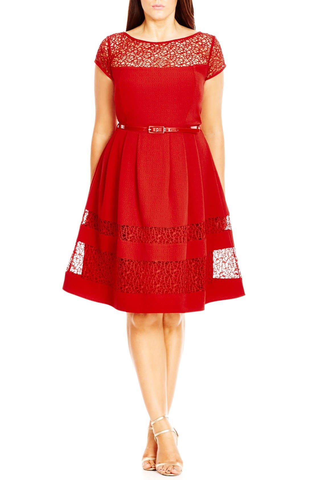 Fit & Flare Dress with Delicate Lace Insets,                             Main thumbnail 1, color,                             Red