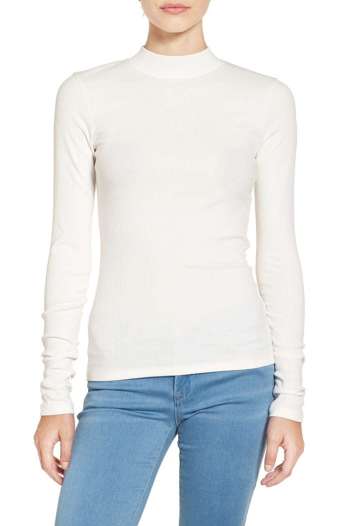 white mock-turtleneck top