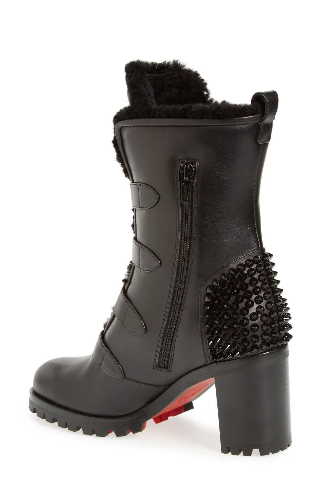 'Glorymount' Studded Buckle Boot,                             Alternate thumbnail 2, color,                             Black Leather