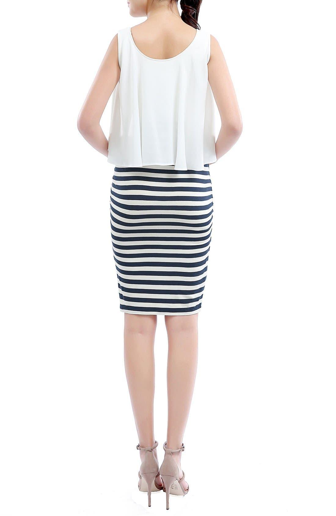 'Anastasia' Popover Maternity Dress,                             Alternate thumbnail 2, color,                             Navy/ Ivory