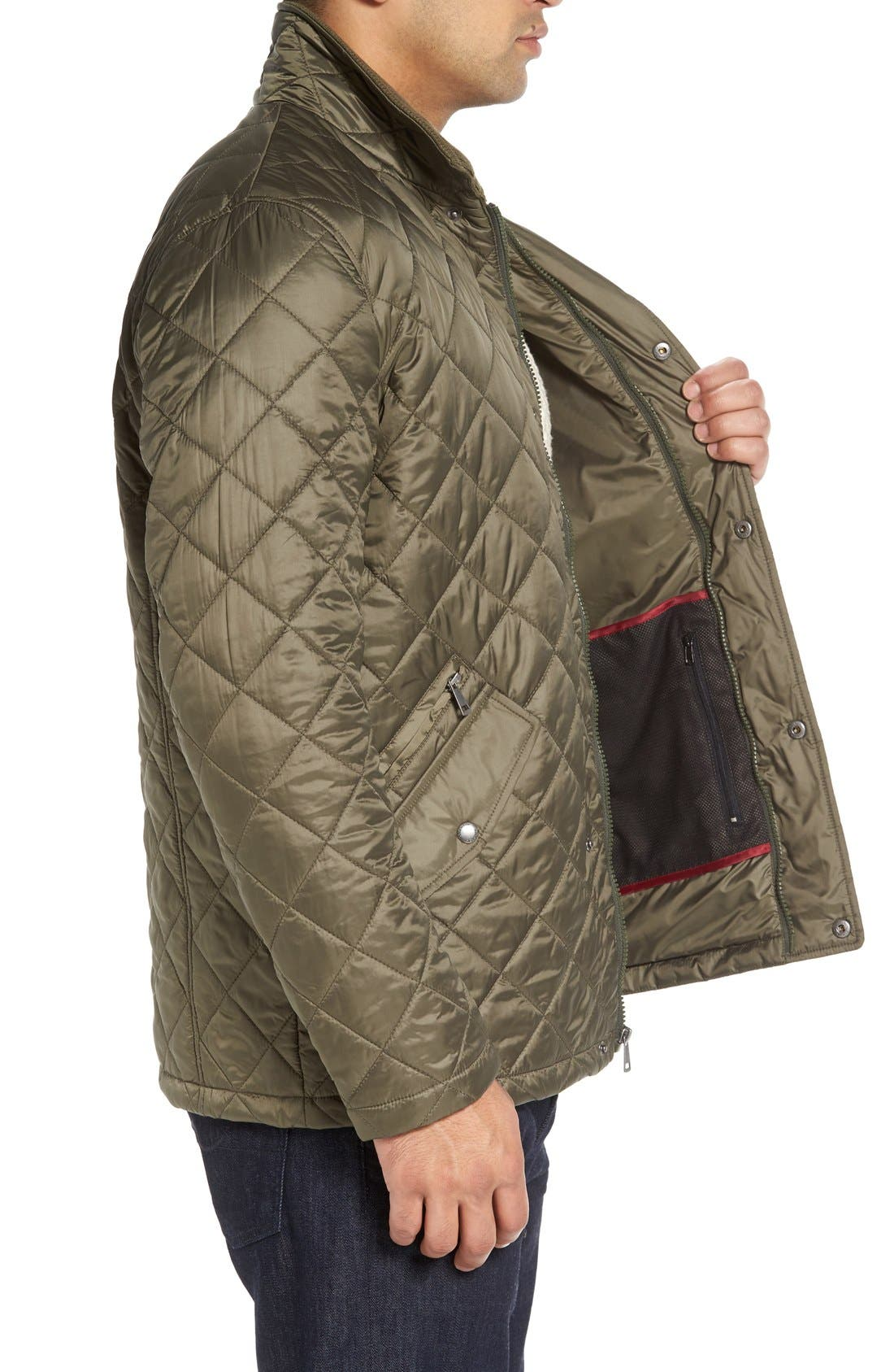 Diamond Quilted Jacket,                             Alternate thumbnail 9, color,                             Olive