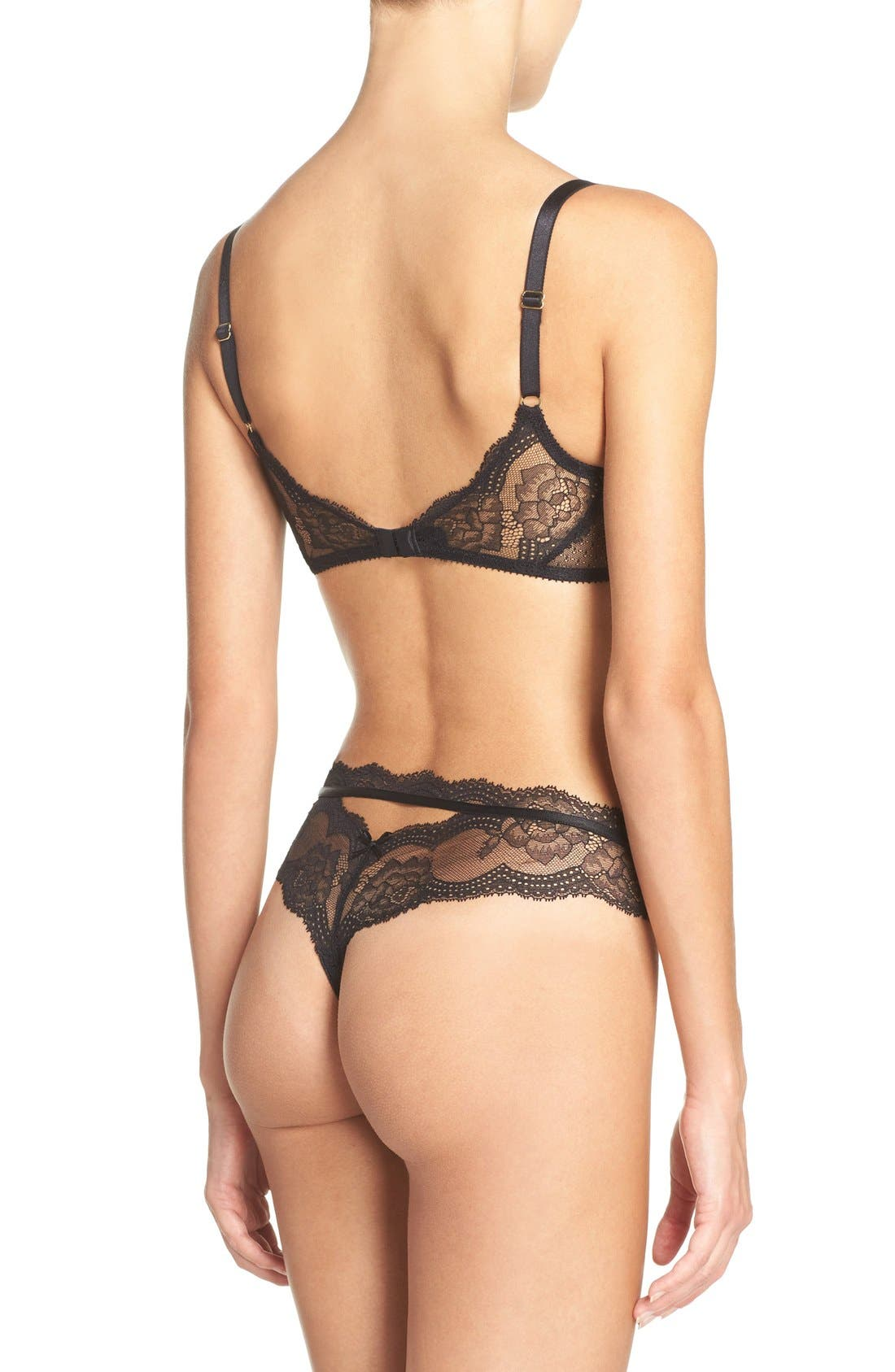 Presage Lace Tanga,                             Alternate thumbnail 5, color,                             Black