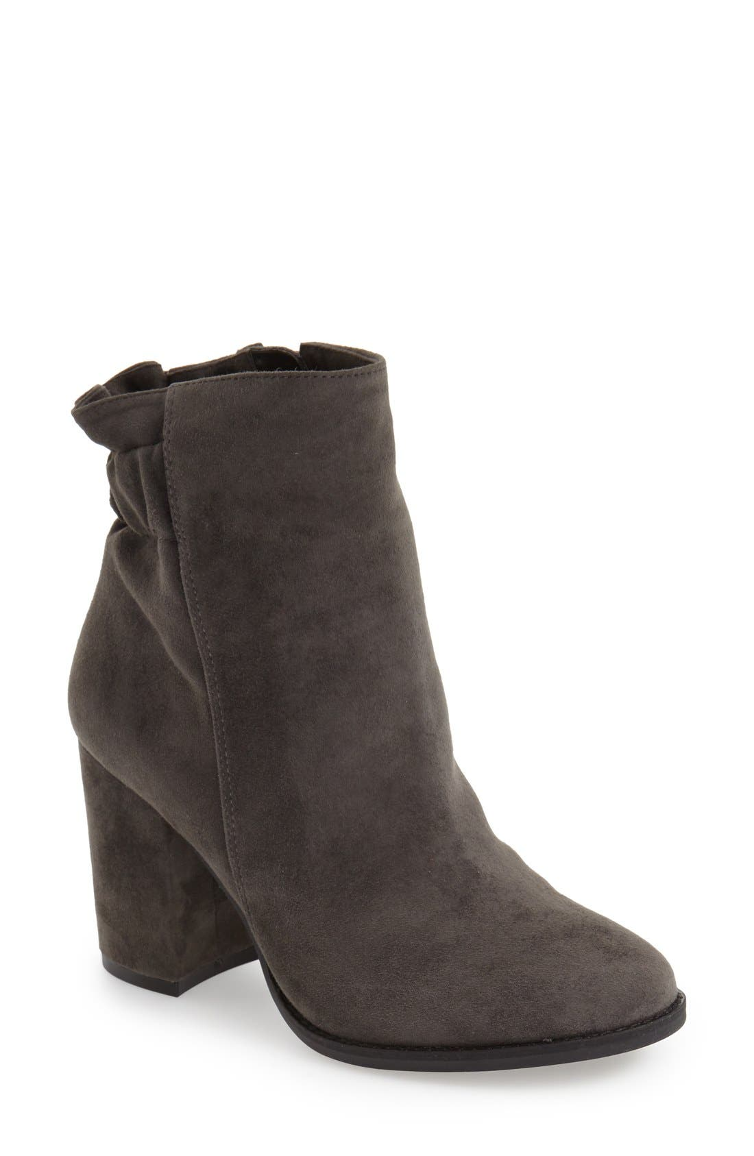 'Rakel' Gathered Heel Zip Bootie,                         Main,                         color, Lavagna Grey Suede