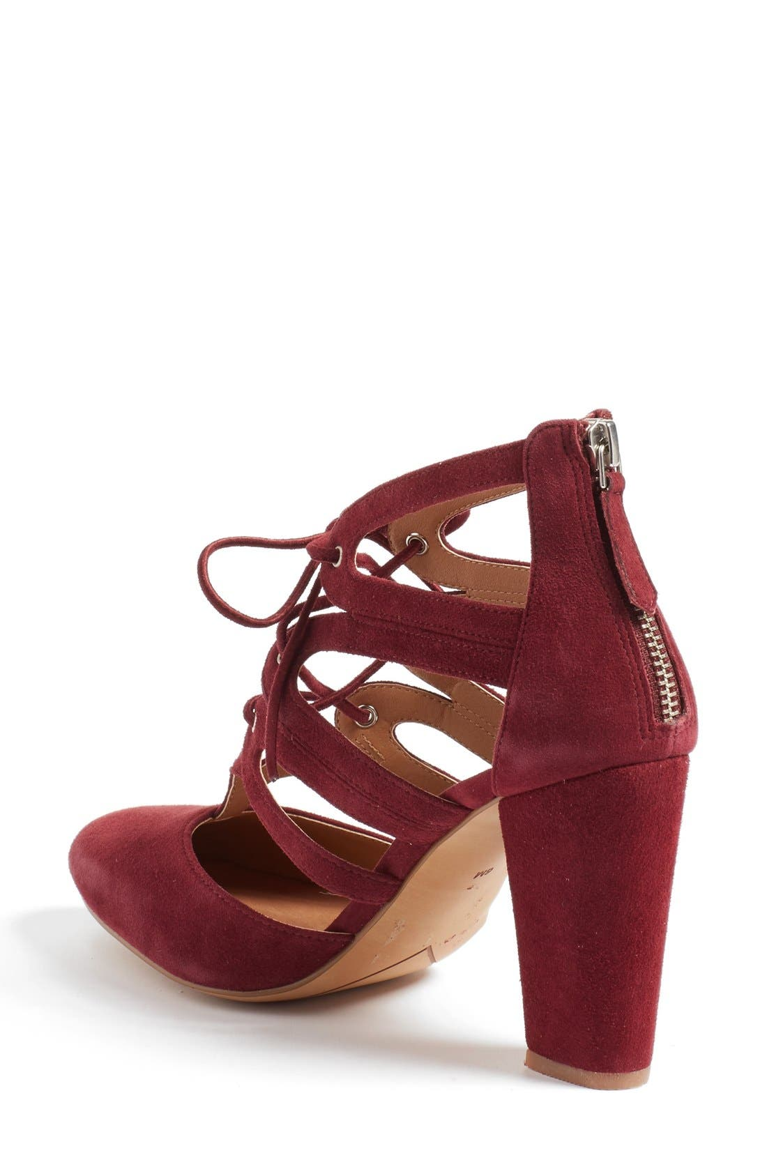 'Sydney' Block Heel Ghillie Pump,                             Alternate thumbnail 2, color,                             Burgundy Suede