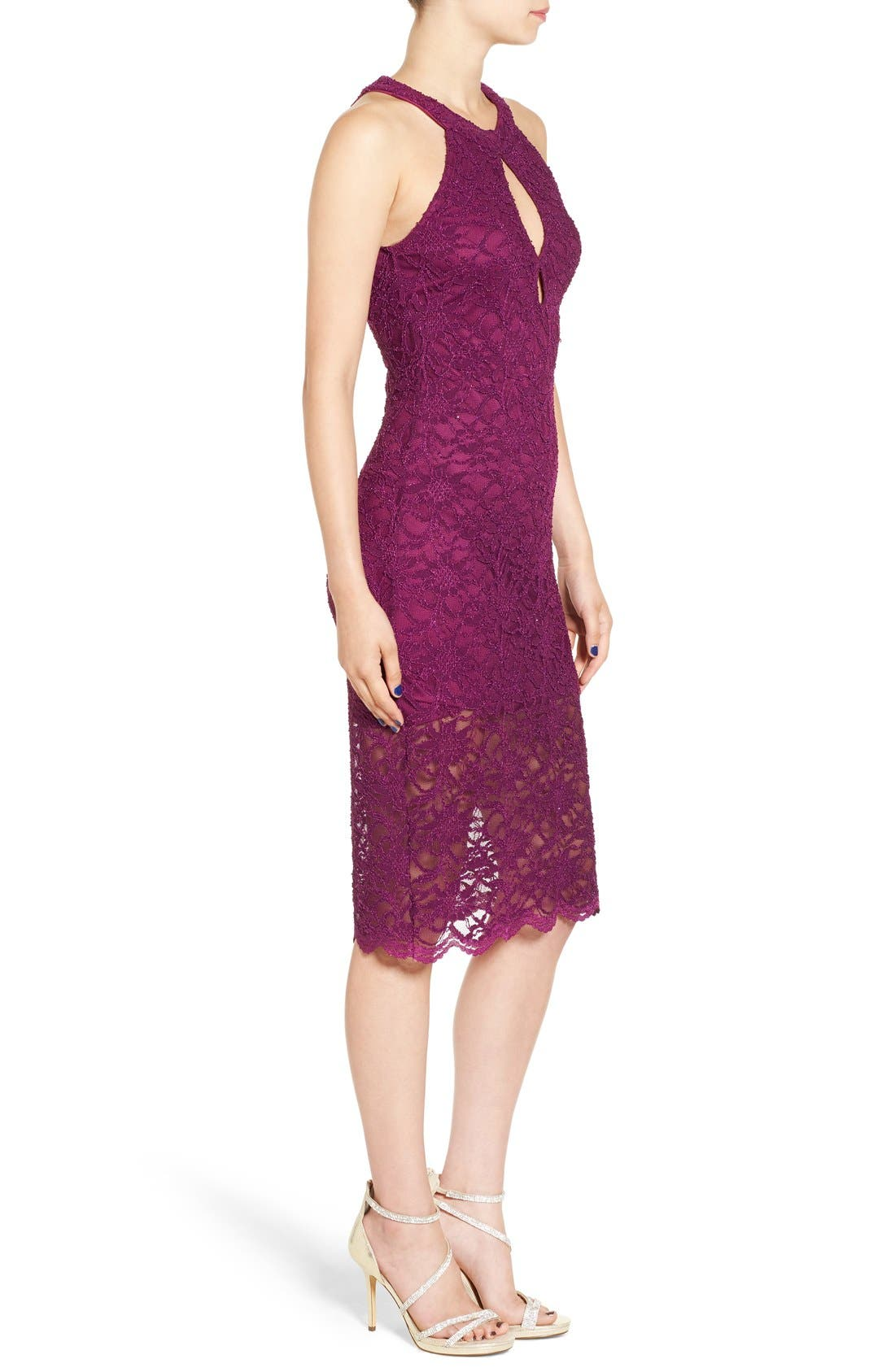 Alternate Image 4  - Jump Apparel Lace Midi Body-Con Dress