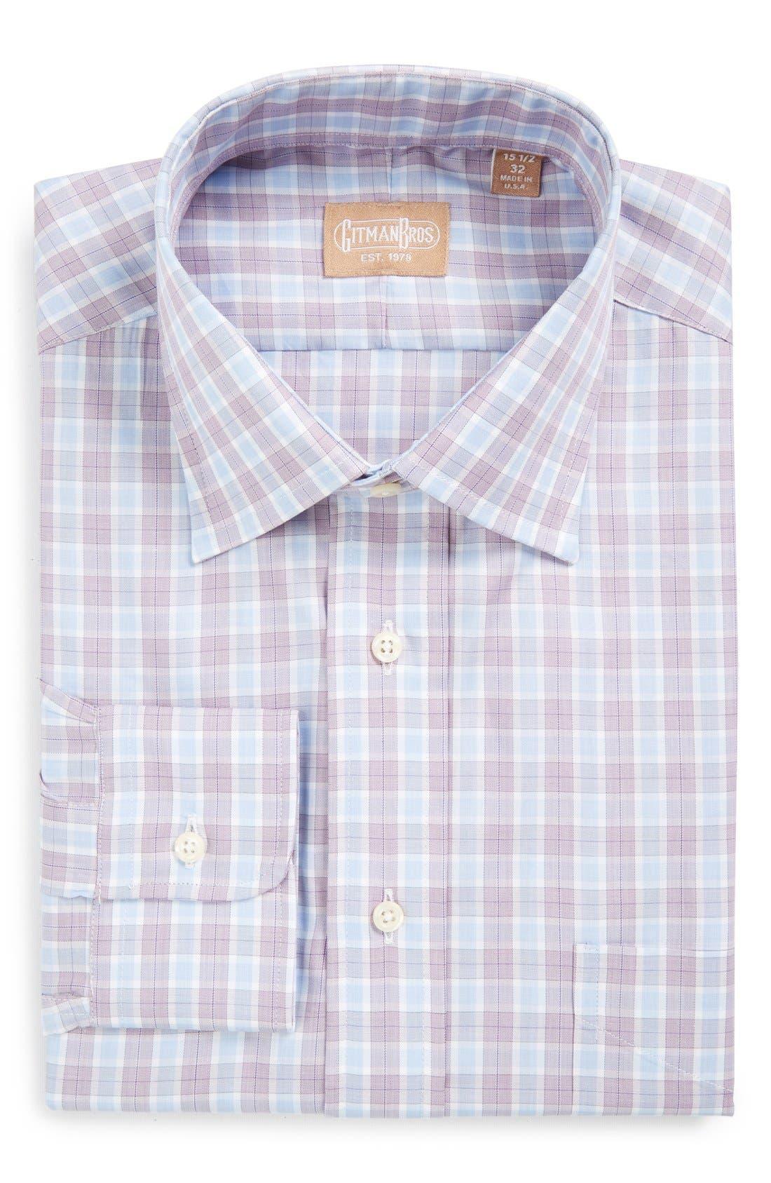 'Broadcloth' Regular Fit Check Dress Shirt,                         Main,                         color, Purple