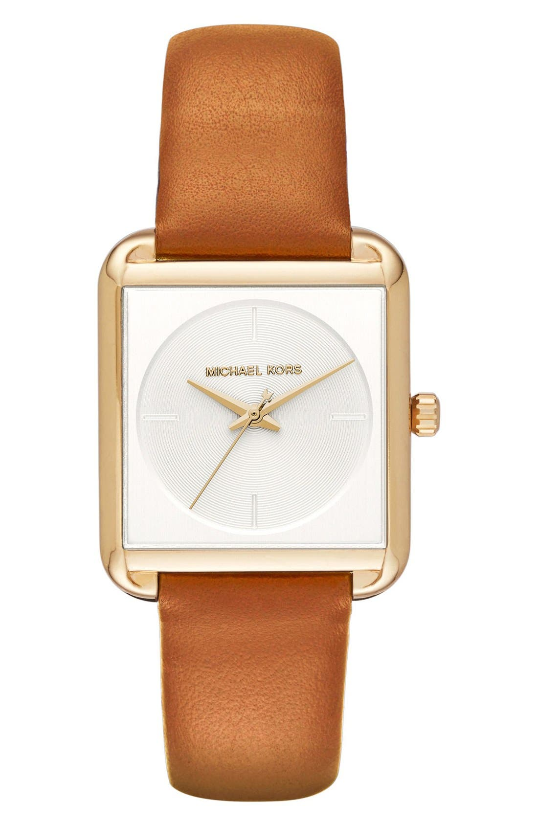 Alternate Image 1 Selected - Michael Kors 'Lake' Leather Strap Watch, 32mm x 39mm