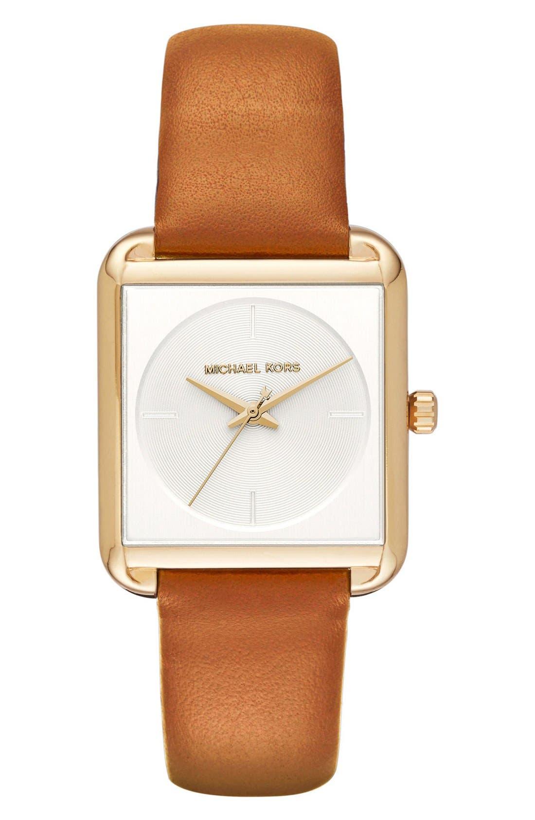 Main Image - Michael Kors 'Lake' Leather Strap Watch, 32mm x 39mm