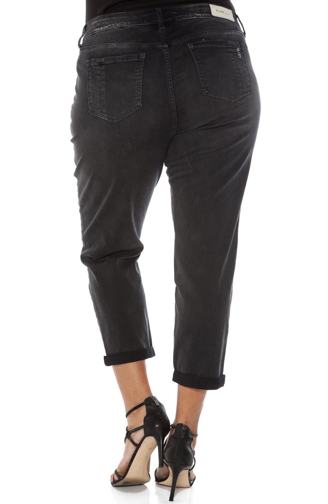 Alternate Image 2  - SLINK Jeans Distressed Roll Cuff Stretch Boyfriend Jeans (Plus Size)