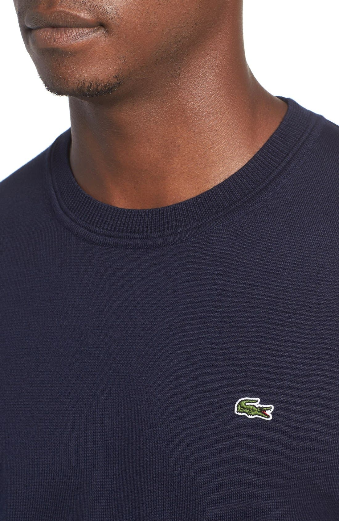 Jersey Knit Crewneck Sweater,                             Alternate thumbnail 4, color,                             Navy Blue