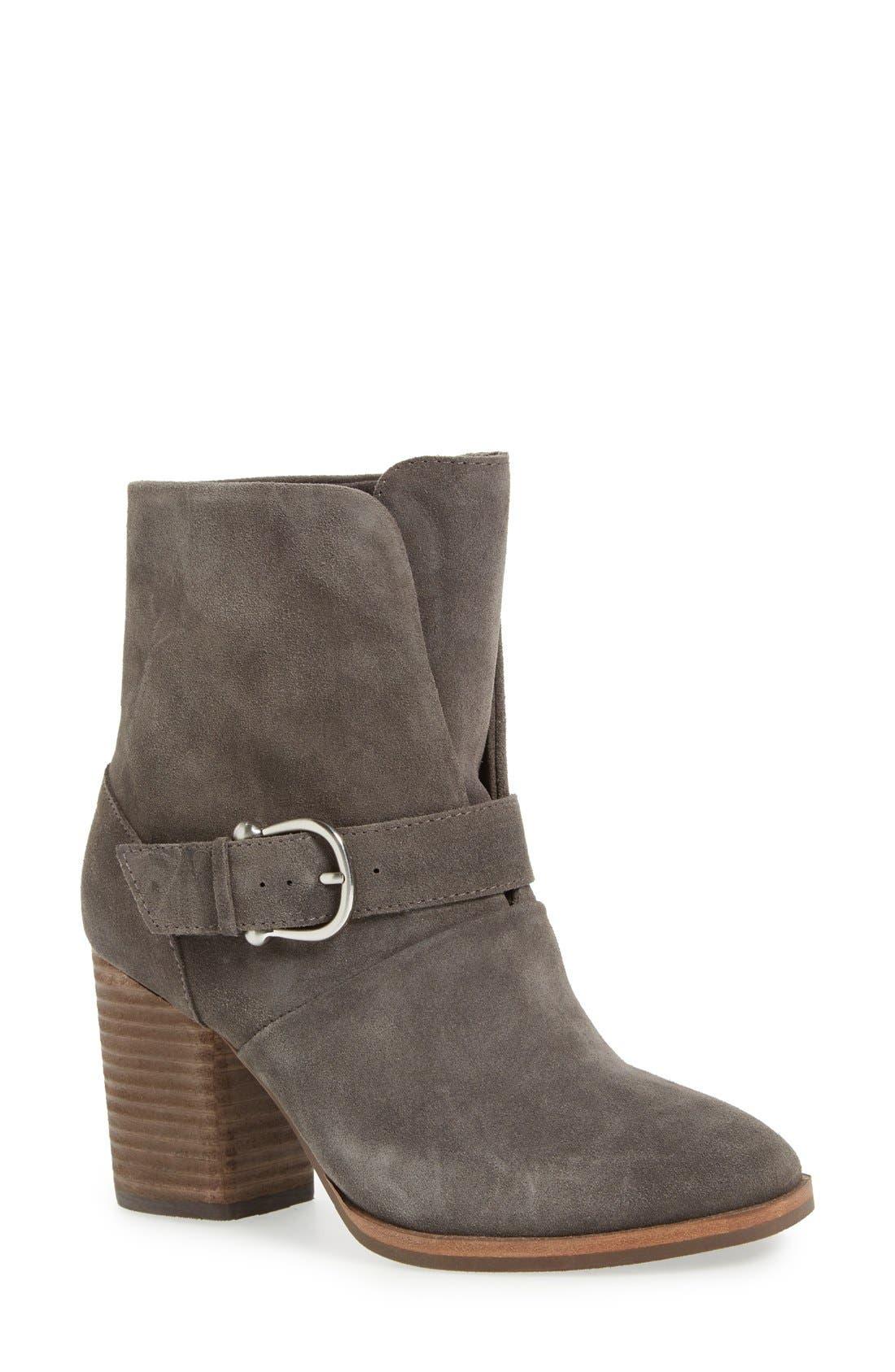 'Lavoy' Block Heel Bootie,                         Main,                         color, Steel Grey Suede