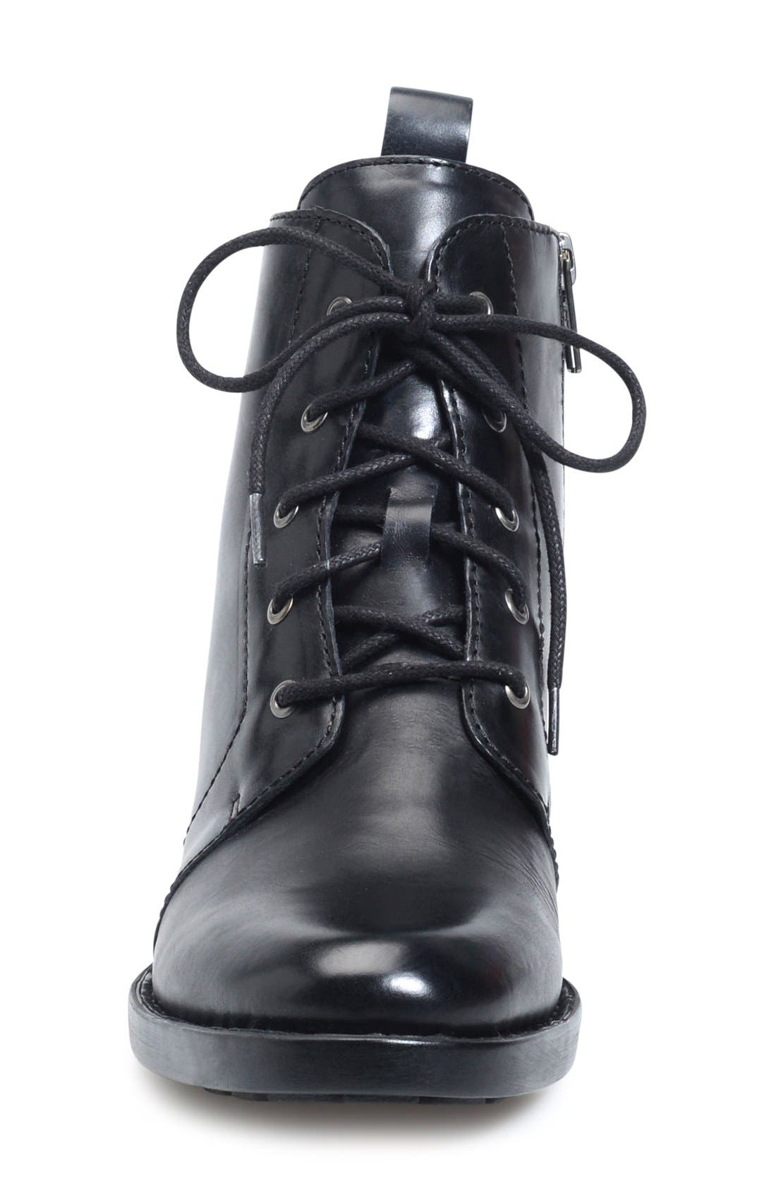 Troye Vintage Lace-Up Boot,                             Alternate thumbnail 3, color,                             Black Leather