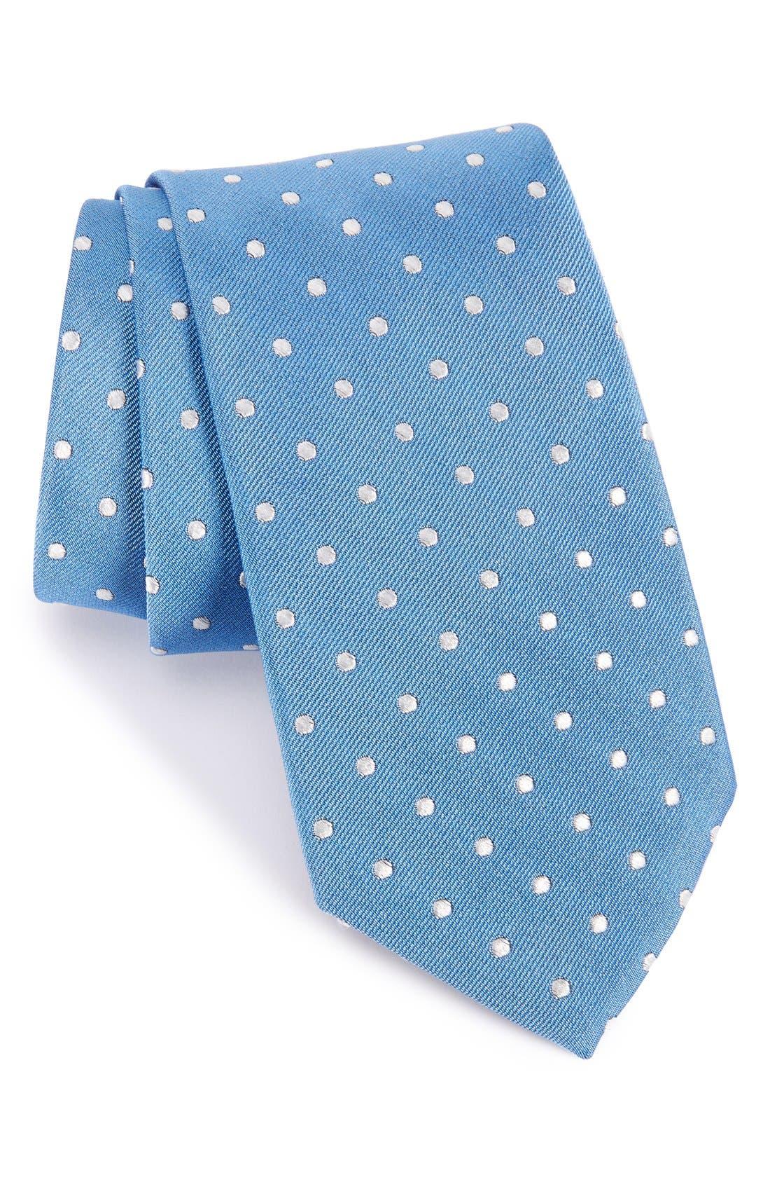 Polka Dot Silk Tie,                         Main,                         color, Light Blue