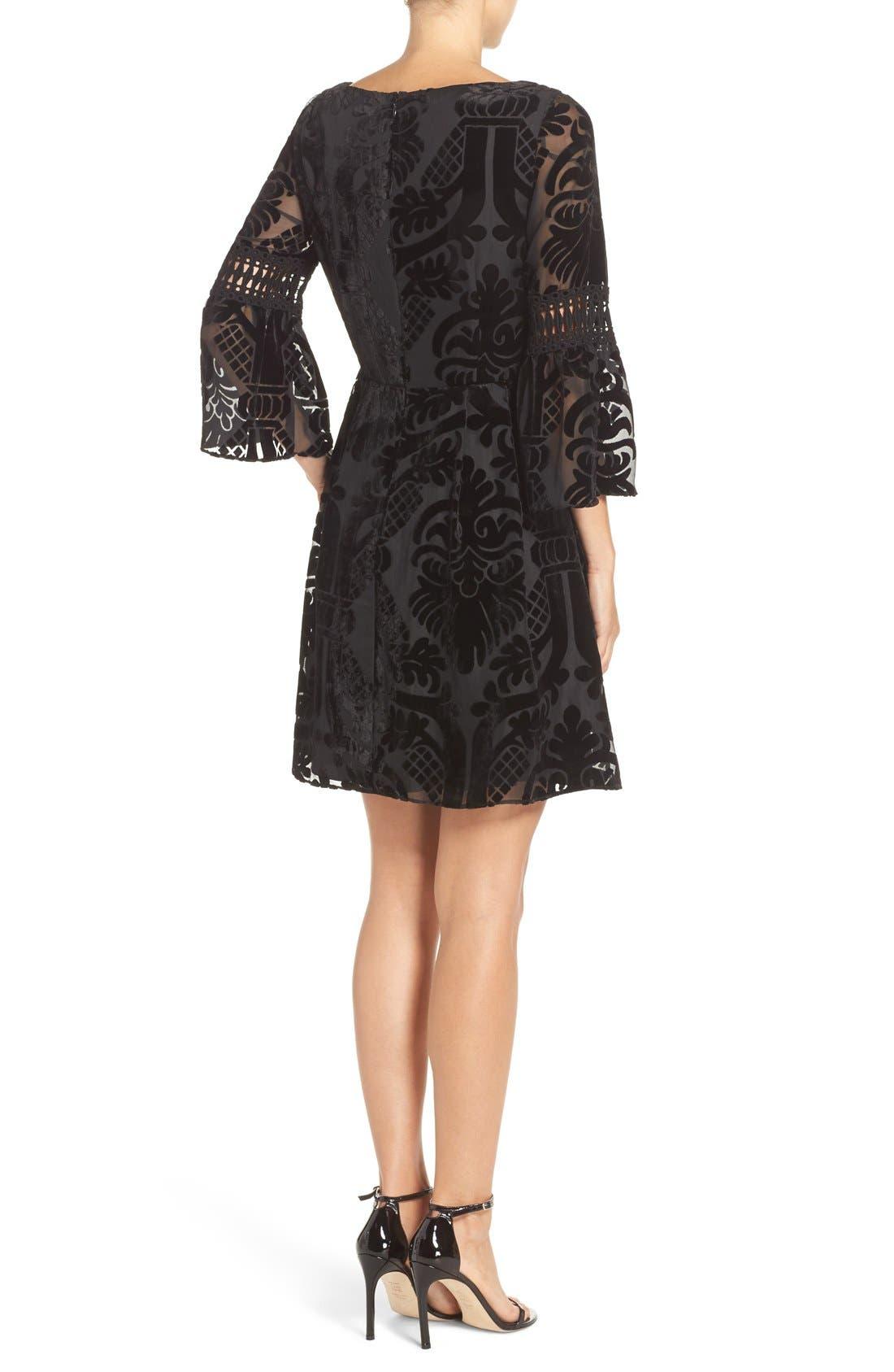 Alternate Image 2  - Eliza J Burnout Velvet Fit & Flare Dress (Regular & Petite)