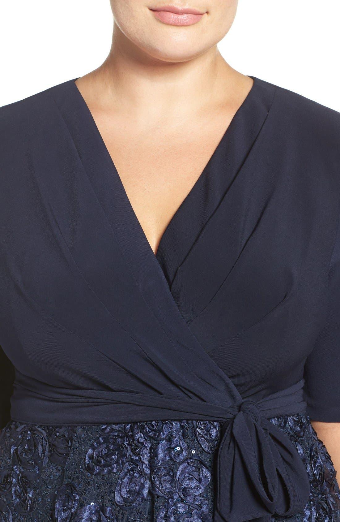 Tea Length Jersey & Rosette Lace Dress,                             Alternate thumbnail 5, color,                             Navy