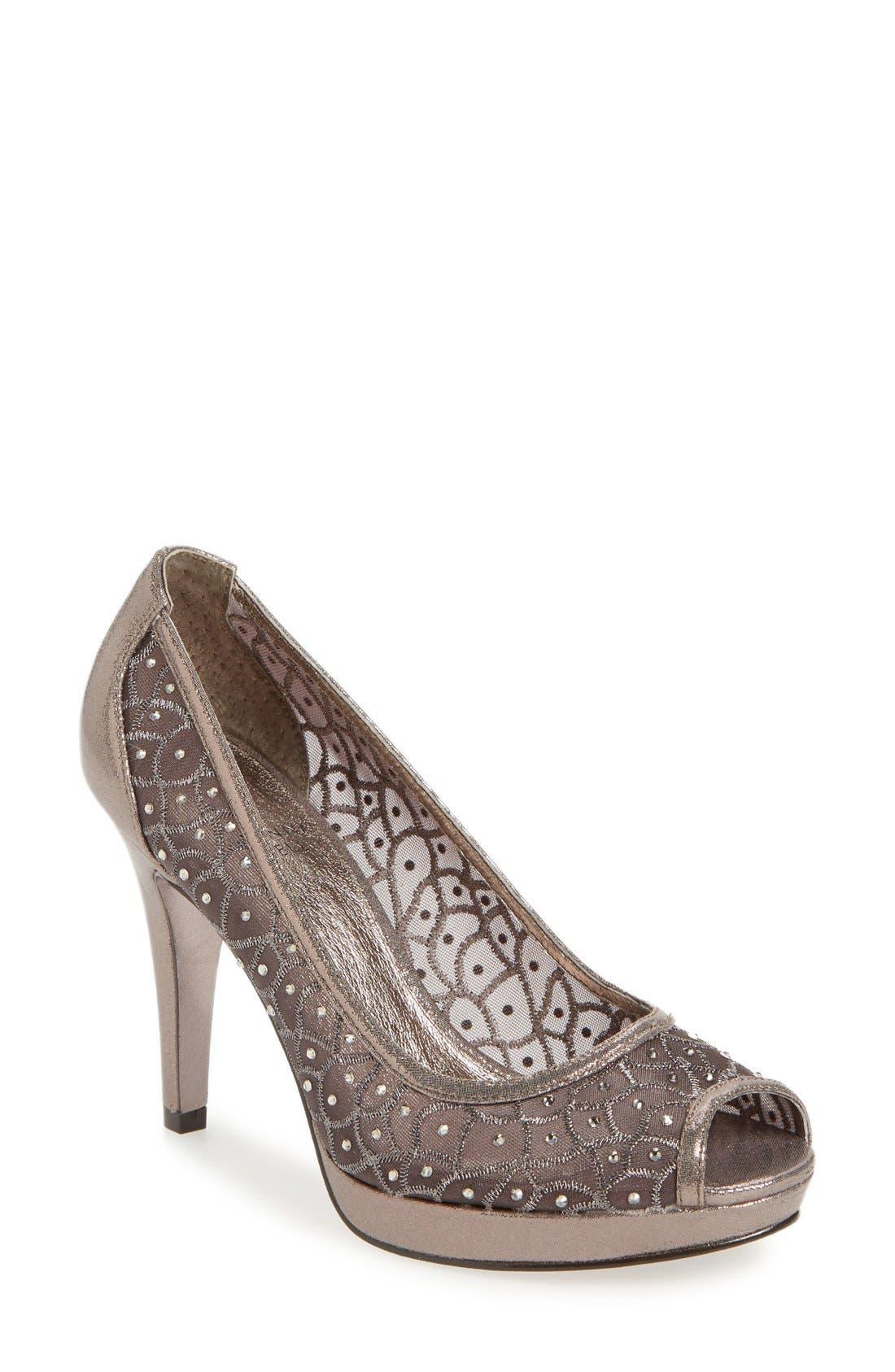 Adrianna Papell 'Foxy' Crystal Embellished Peeptoe Pump (Women)