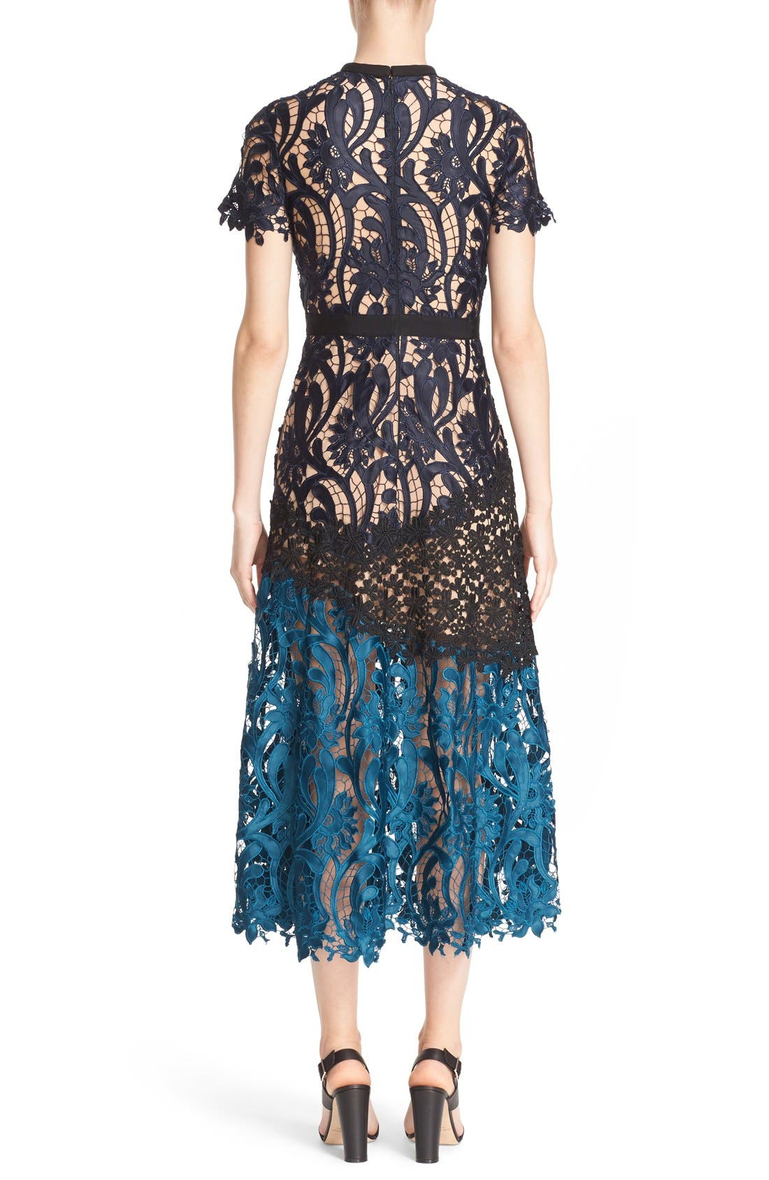 Alternate Image 2  - Self-Portrait 'Prairie' Mixed Lace Midi Dress