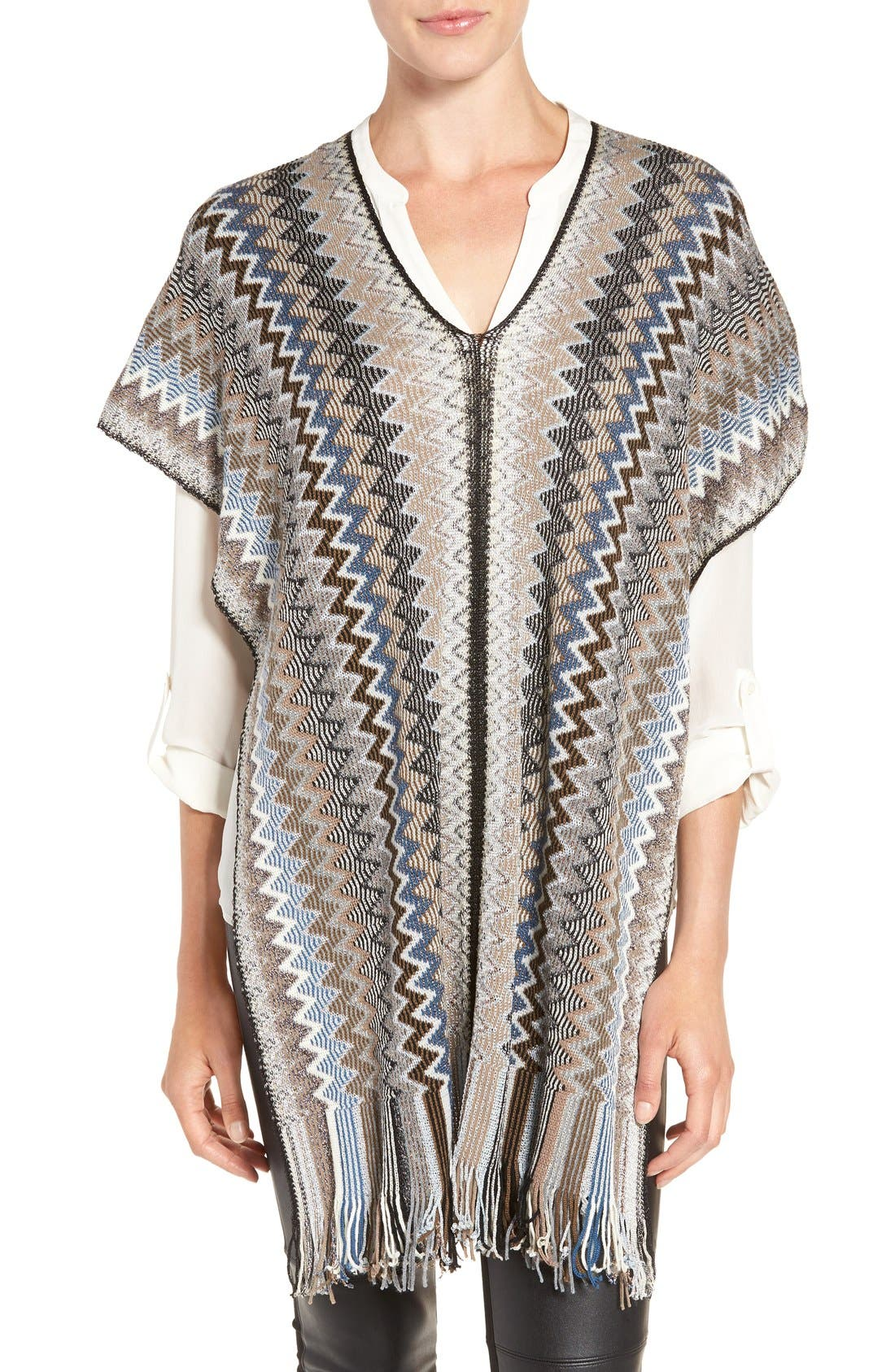 Fringe Poncho,                         Main,                         color, Silver