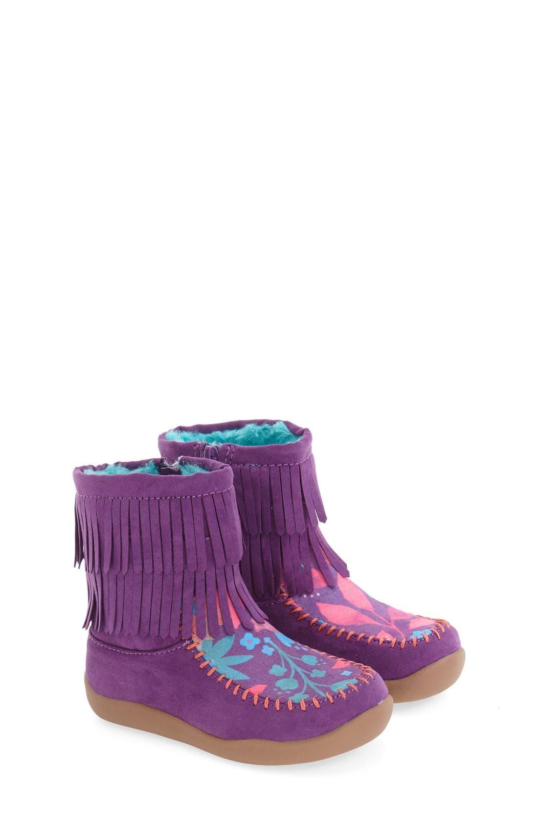 Fringe Bootie,                         Main,                         color, Purple Faux Leather