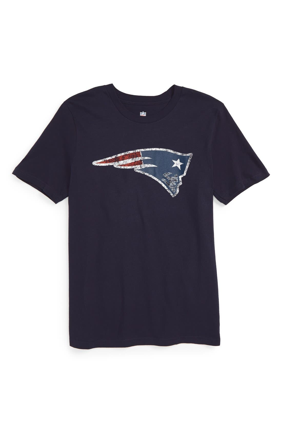 Alternate Image 1 Selected - Outerstuff 'NFL - New England Patriots' Distressed Logo Graphic T-Shirt (Big Boys)