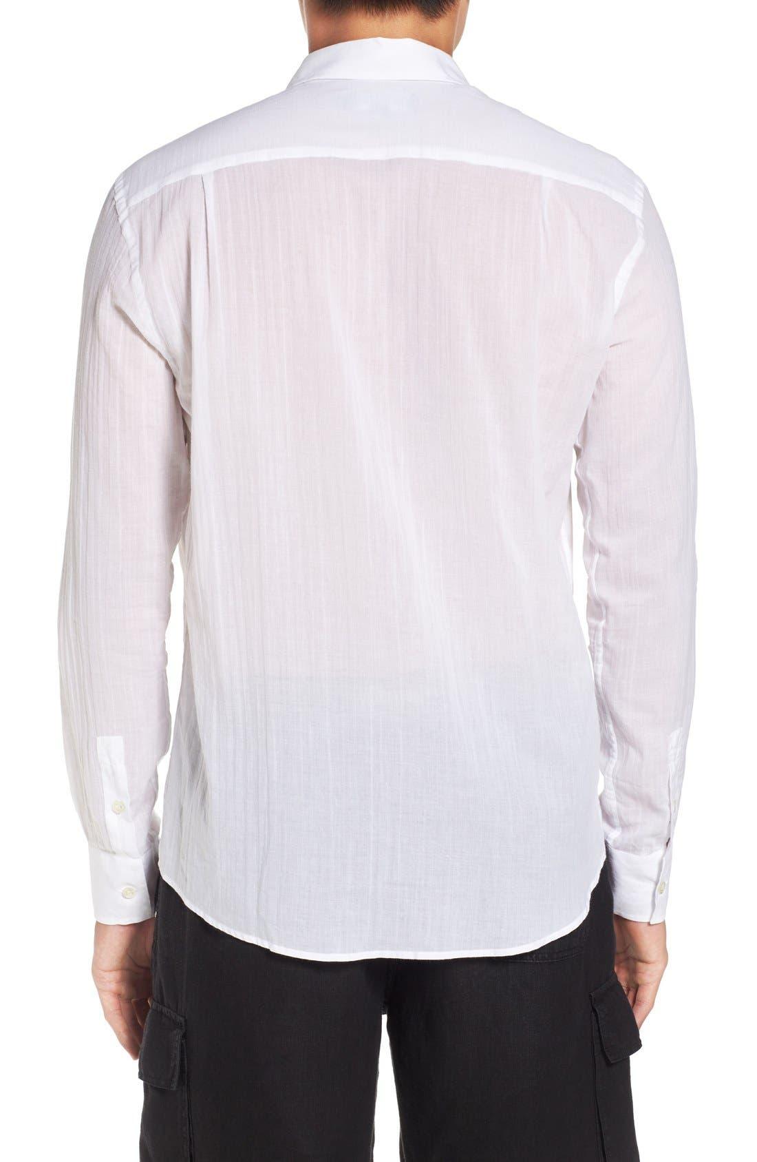 Cotton Voile Sport Shirt,                             Alternate thumbnail 3, color,                             White